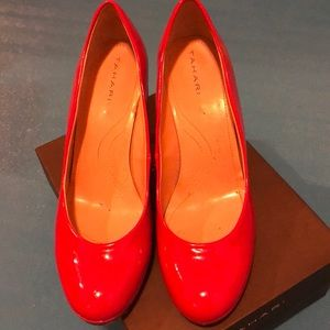 Tahari red patent leather pumps